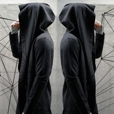 Trung bình và thủy triều dài thương hiệu phần mỏng màu đen sẫm với cùng một áo len phù thủy hoodie nam giới và phụ nữ những người yêu thích hip hop áo khoác áo choàng Áo len