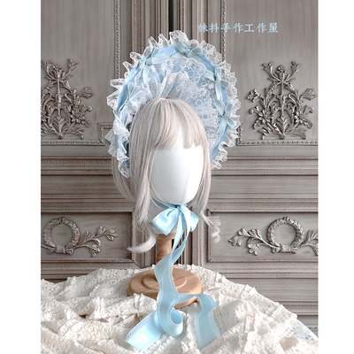 taobao agent 【maid】Original hand-made Lolita tea party heavy industry multi-layer lace Bonnet bnt bb hat