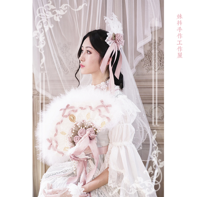 taobao agent 【maid】Dreaming back to Versailles Lolita original hand-made jewelry sister shaking hands made hair band Hanayome feather fan