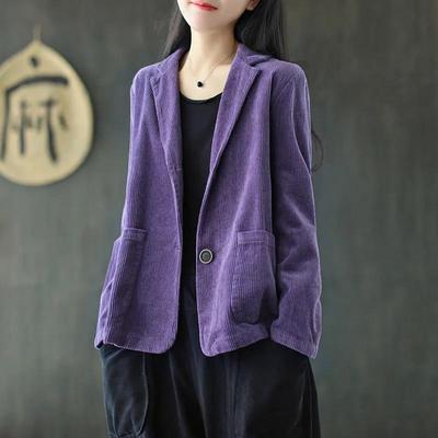 灯芯绒西装领纯色短外套女秋季新款长袖口袋文艺复古休闲外套上衣