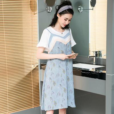 Mát gamma mùa hè sản phẩm mới đơn giản thời trang loose khâu giả hai ngắn tay thai sản dress 8387