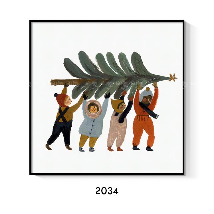 北欧可爱插画卡通儿童房卧室挂画心文艺小众客厅少女床头装饰画芯_图2