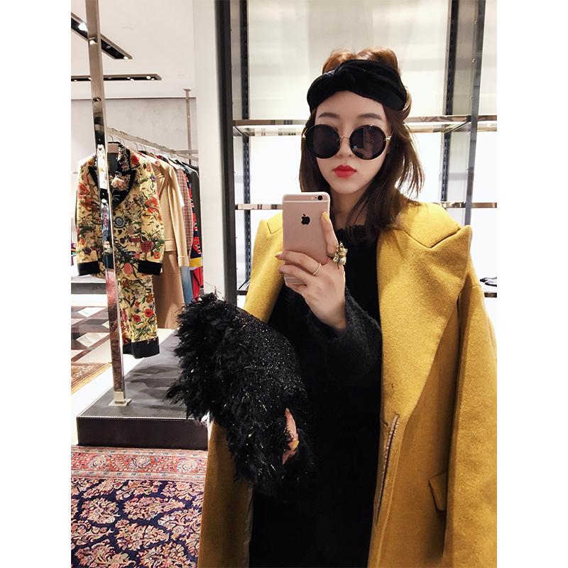 张贝贝ibell新款女装秋冬季长袖中长款呢子大衣毛呢外套