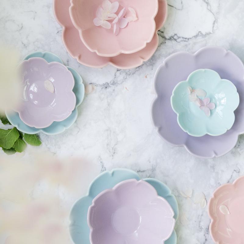 Nhật bản phong cách dễ thương màu rắn bộ đồ ăn gốm nước sốt món ăn món ăn và gió sáng tạo snack món ăn kem nhỏ bát tấm