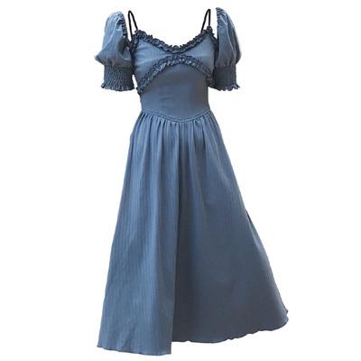 Đào có thể PEACHCOLA xem indigo Độc quyền ban đầu tòa án gió nhung dây đeo Knit dress váy đầm