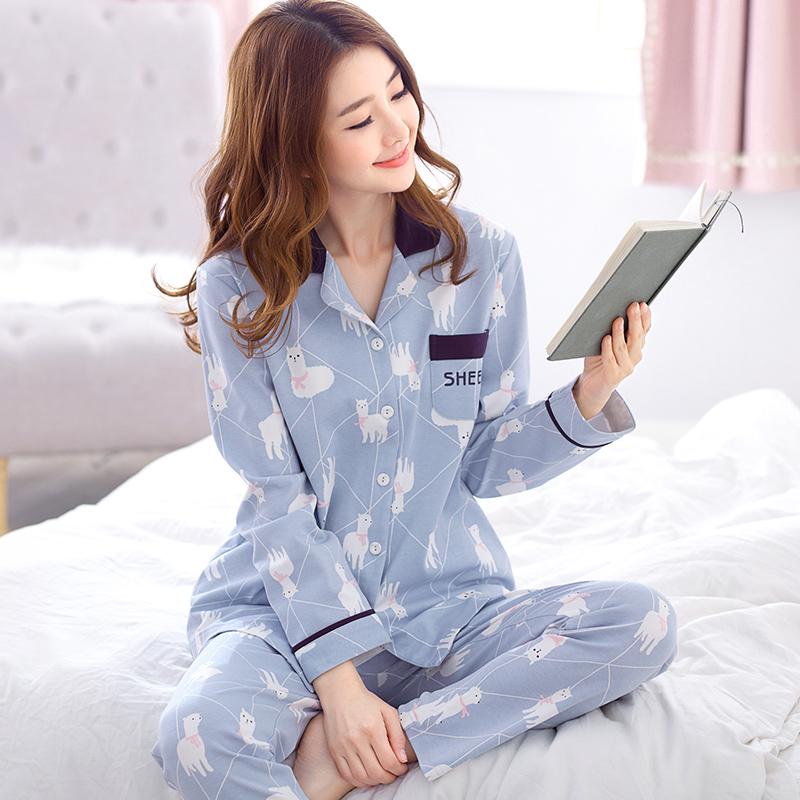 秋季长袖睡衣女士纯棉薄款开衫翻领两件套大码全棉休闲家居服套装