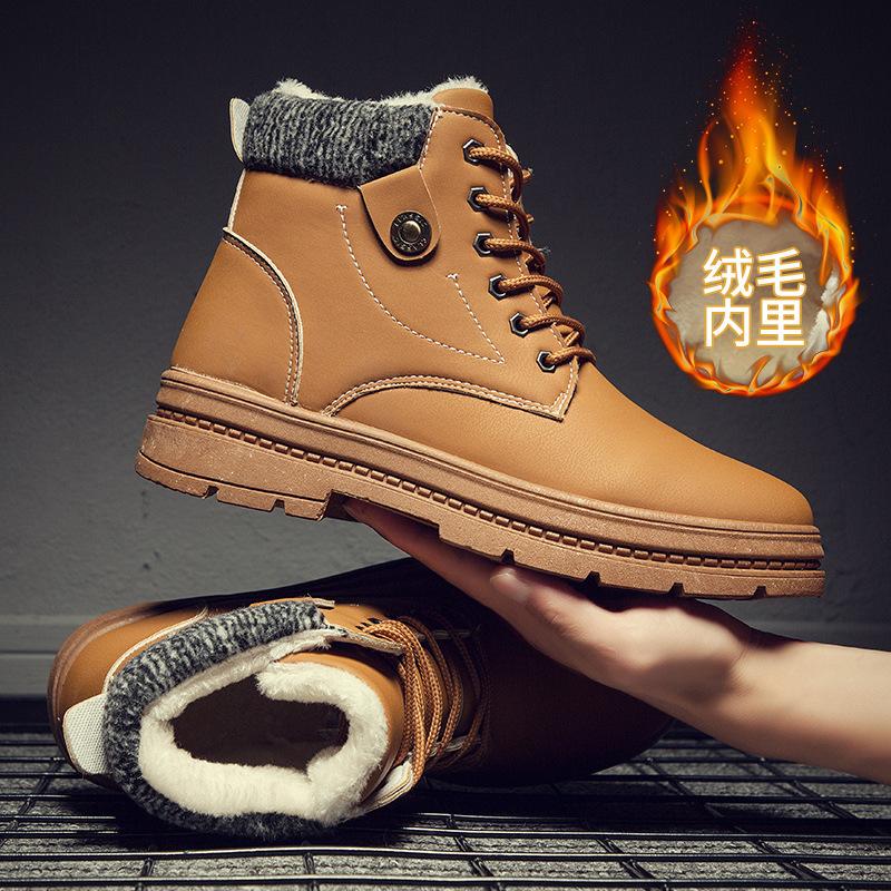 男士加棉马丁靴高帮鞋工装鞋中帮军靴男鞋