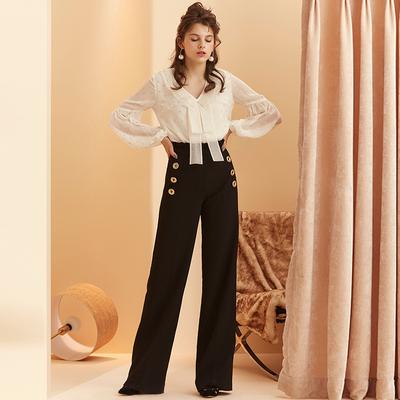 独立设计师 AnaRosha 早秋新款金扣子装饰阔腿裤