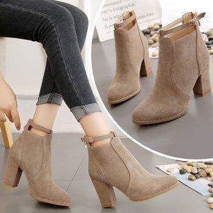 冬季新款百搭韩版磨砂粗跟高跟鞋马丁靴