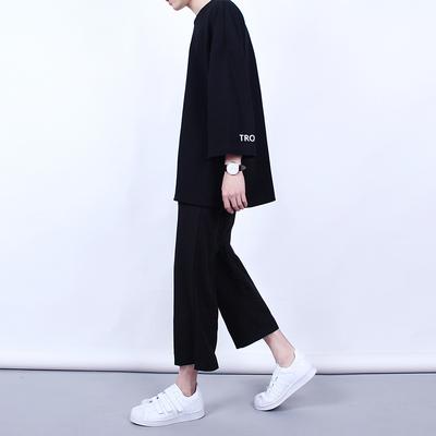 Hàn quốc phiên bản của Harajuku phong cách quần chân rộng của nam giới chín quần Hàn Quốc lỏng thẳng quần retro giản dị chân rộng quần triều nam Crop Jeans