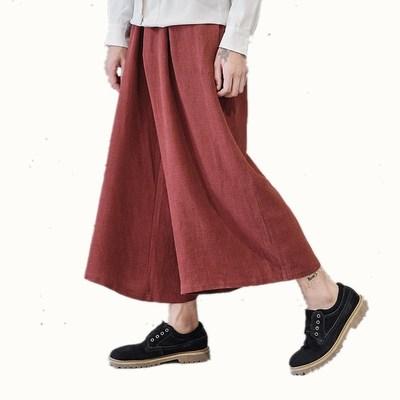 Trung Quốc phong cách quần nam quần hậu cung kích thước lớn quần linen lỏng gió quốc gia bông quần chân rộng dịch vụ trà thiền quần Quần Harem