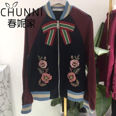 Các gnome đại sứ 2018 mùa thu màu tương phản bow hoa thêu đồng phục bóng chày lỏng ngắn áo khoác nữ 3F3F413 Áo khoác ngắn