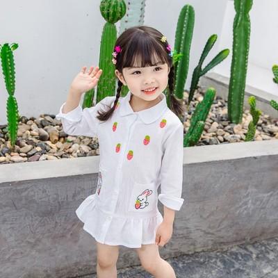 女宝宝春秋装新款长袖草莓衬衫儿童超洋气休闲打底衬衣潮