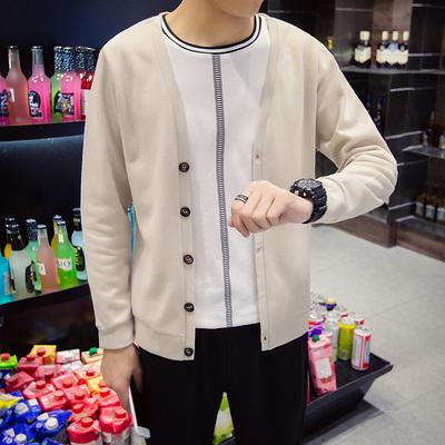Áo len nam mùa xuân mỏng Hàn Quốc Áo len mỏng cổ chữ V Áo len nam Áo len tuổi teen - Cardigan