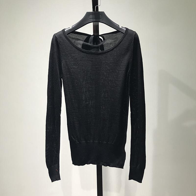 [Ling] đặc biệt thương hiệu quầy phụ nữ vòng cổ đan T-shirt trung tâm thu hồi quầy cắt mùa thu chống mùa giải phóng mặt bằng