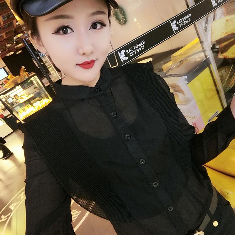 衬衫女长袖春新款显瘦荷叶边微透薄款黑色立领打底衫上衣