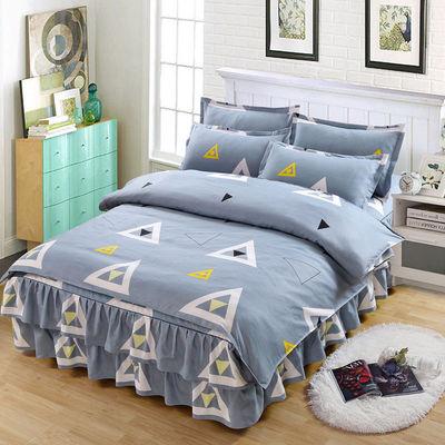 加厚床裙式四件套韩版被套公主风床罩磨毛被罩非纯棉全棉床上用8