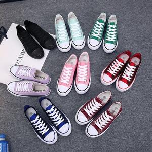 Sinh viên mùa xuân giày vải nữ Hàn Quốc phiên bản của đôi giày của nam giới thấp để giúp giày phẳng giày thoáng khí giày đơn màu trắng giày