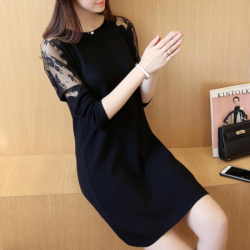 2018韩版春季新款长袖中长款蕾丝拼接连衣裙套头打底针织
