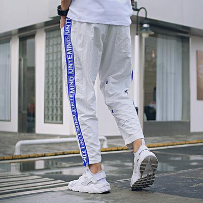 Avene tiếng ồn cao đường mỏng phần không thấm nước và nhanh chóng làm khô quần thể thao tương phản màu letter in ấn Velcro loose chùm quần