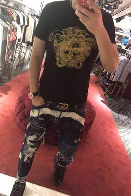 Vaasa nam giới và phụ nữ làm bóng bông thêu kim cương nóng sequins vẻ đẹp Mỏng Dusha đầu chất béo kích thước lớn T-Shirt ngắn tay áo triều áo tommy Áo phông ngắn