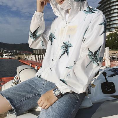 Mùa xuân và mùa hè phần mỏng áo giản dị của nam giới siêu mỏng thoáng khí lỏng maple lá kem chống nắng quần áo Hàn Quốc phiên bản của sọc trùm đầu đồng phục bóng chày