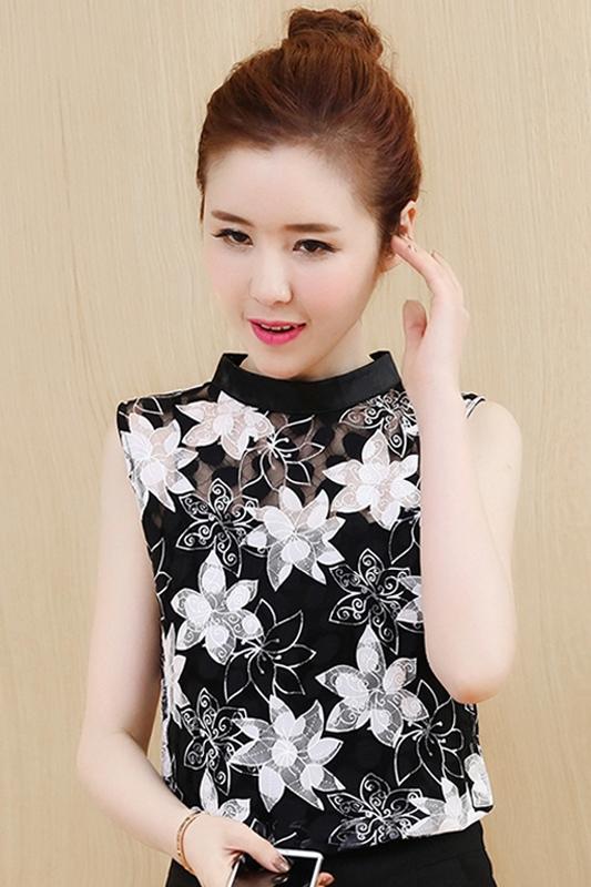 Ngắn tay áo nữ mùa hè 2018 mới của Hàn Quốc phiên bản của thủy triều của nước ngoài khí hoang dã bìa belly ren siêu ngọt ngào ngọt ngào voan áo sơ mi nữ