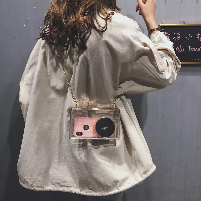 高级感法国小众包包女包新款潮洋气百搭单肩透明包链条斜挎包