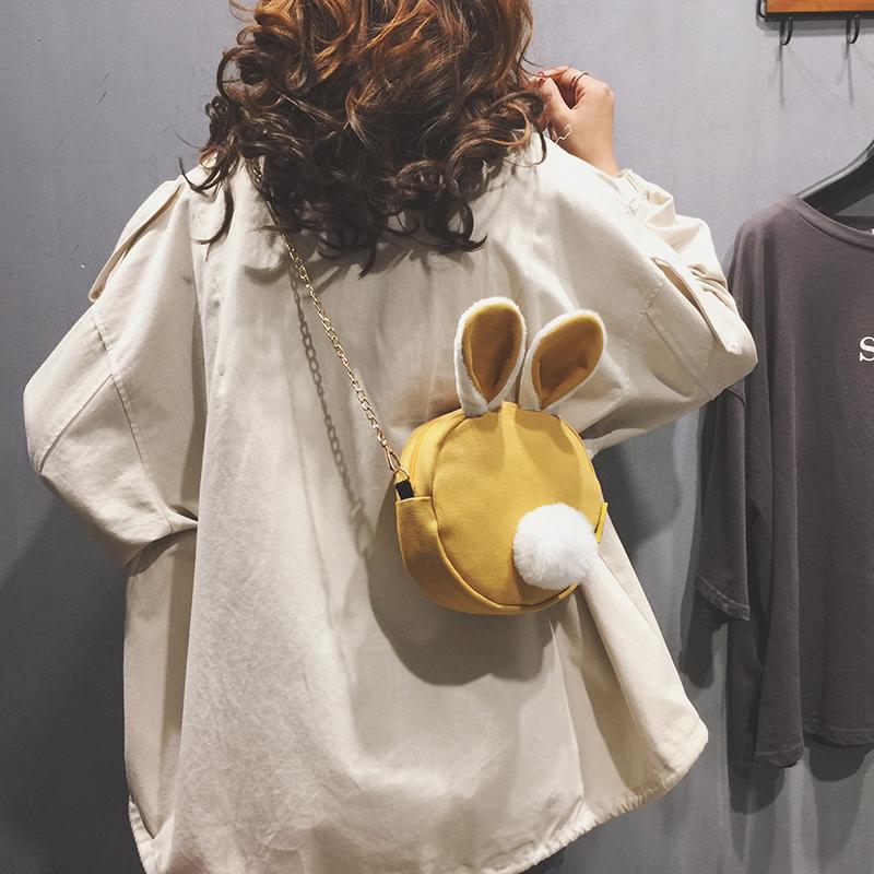 上新搞怪小包包女新款可爱链条兔子包秋冬休闲帆布单肩斜挎包