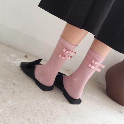 日系软妹 双蝴蝶结金银丝 堆堆袜子 银葱中筒女袜