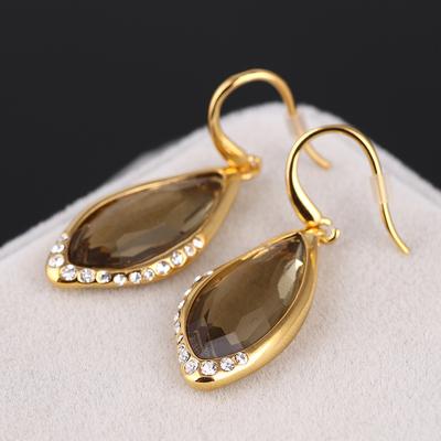 美国AB茶钻叶子形镶钻切面不规则宝石镶嵌 优雅气质耳环/耳饰