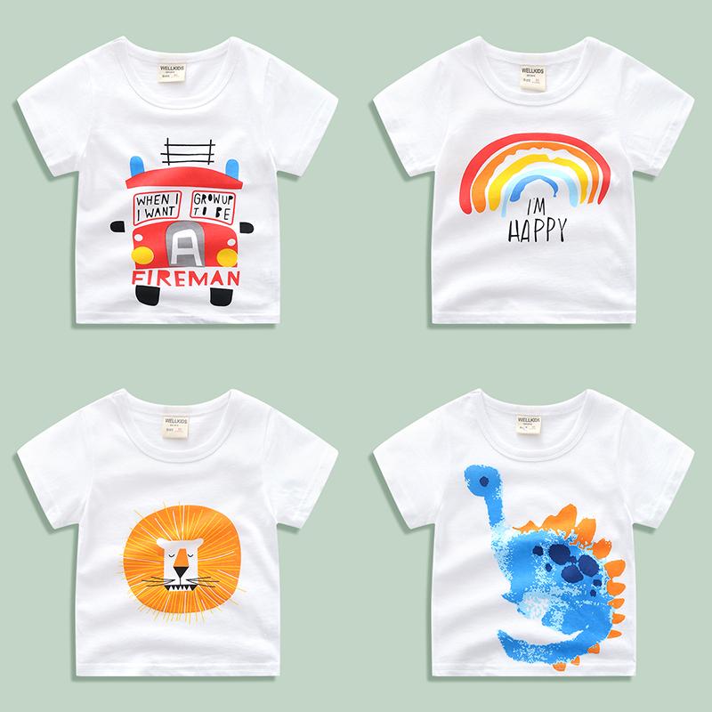 Trẻ em ngắn tay T-Shirt cotton 2018 mùa hè mới quần áo trẻ em nữ baby boy trắng nửa tay áo đáy áo sơ mi