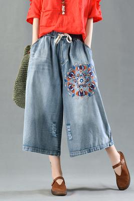 Vườn công viên, quần áo quốc gia, thêu Jeans, mùa hè của phụ nữ, thời trang, lỗ, mỏng, quần chân rộng, quần cắt thường Quần jean