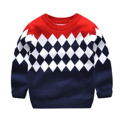 男童毛衣儿童秋冬款套头针织衫宝宝新款秋装潮婴儿童装冬装拼接厚