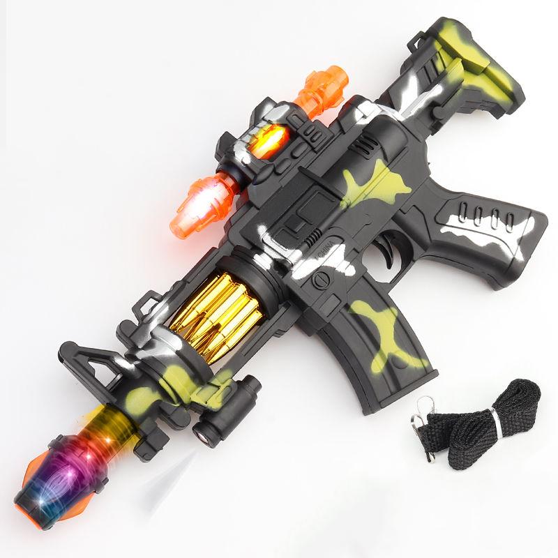 儿童宝宝迷彩电动玩具枪声光音乐小孩男孩枪投影冲锋枪236岁