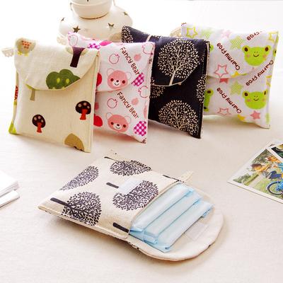 可爱卡通卫生巾收纳包棉麻布艺女生护垫卫生棉包创意便携式收纳袋