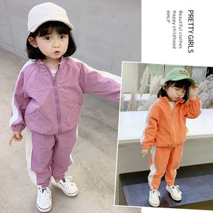 Girls' suits 2020 autumn new Korean children girls baby Western style contrast coat + pants two-piece suit