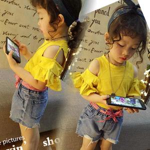 Cô gái mùa hè 2018 trẻ em mới của bé nấm ngắn tay quây sexy t-shirt thoải mái bông cơ sở coat