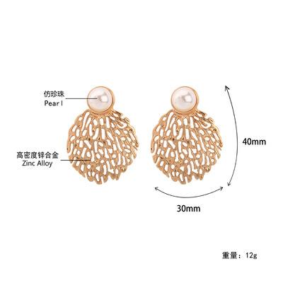 欧美热销珍珠耳钉合金镂空蜂窝耳坠原创个性耳饰女耳环凹造型新款