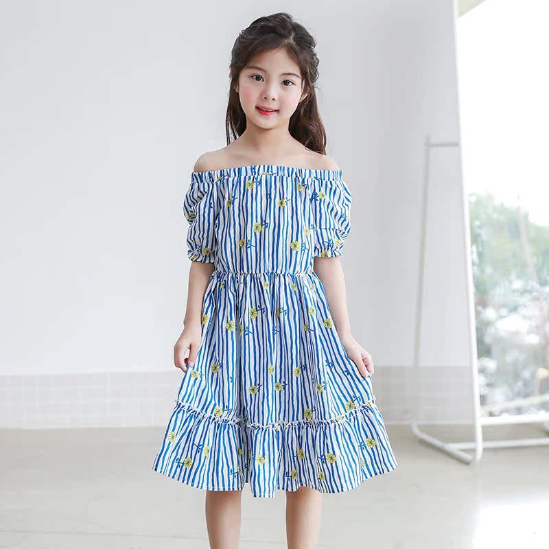 2018夏装新品韩版童装露肩女童中大童沙滩裙一字领连衣裙可爱8岁9