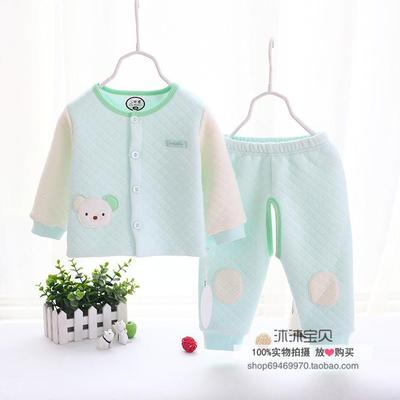 帅鹿秋冬婴童保暖内衣套装男女宝宝空气层三层保暖衣服