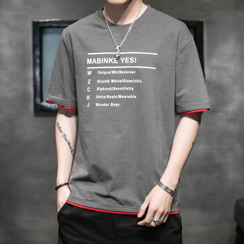 短袖男夏季韩版潮流男士T恤帅气圆领宽松体恤男生时尚半袖上衣服