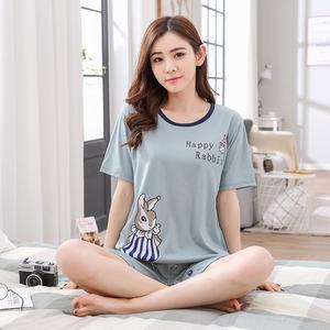 Mùa hè ngắn tay quần short phù hợp với cô gái đồ ngủ mùa hè của phụ nữ bông thể thao giản dị có thể được đeo bên ngoài dịch vụ nhà Hàn Quốc phiên bản mỏng