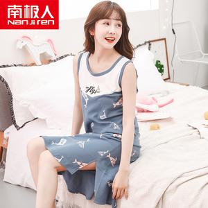 Nam cực vest nightdress nữ mùa hè cotton Hàn Quốc sinh viên tươi dễ thương lỏng không tay đồ ngủ nữ mùa hè váy