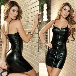 Sexy lingerie uniform secretary women's corset sexy temptation nightclub patent leather tight-fitting hip skirt plus size underwear