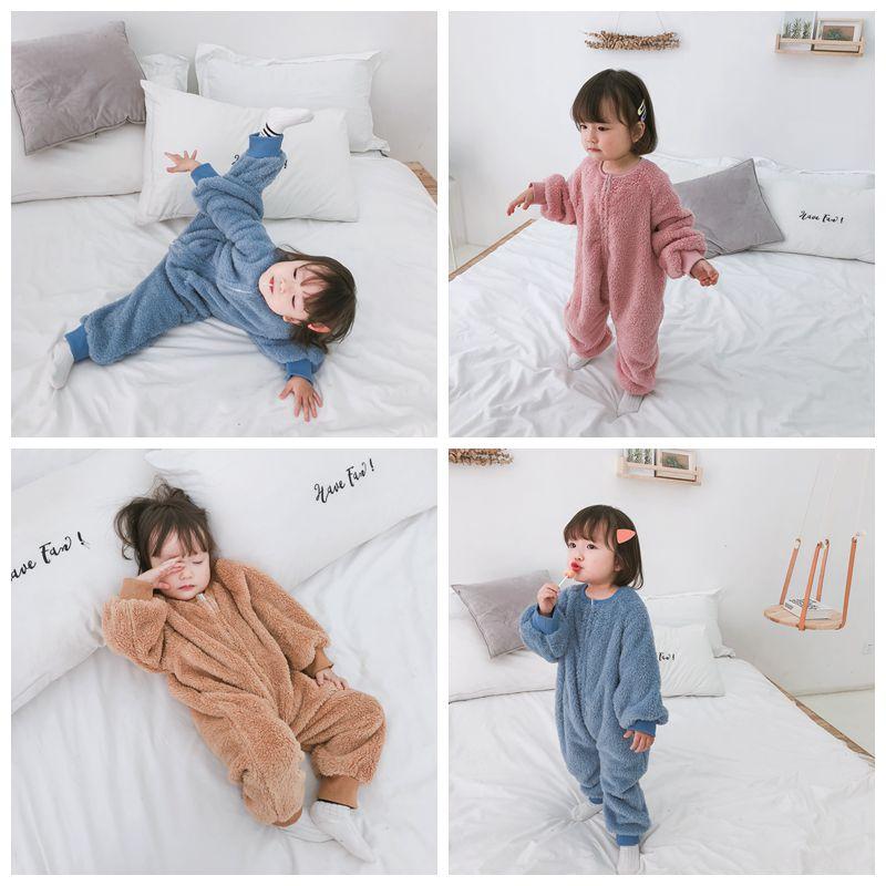 小森妈婴童店女宝宝双面羊羔绒家居服连体衣冬季女童宽松睡袋