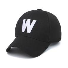 冠承 韩版休闲高尔夫女士帽子春秋季刺绣W字母男士防晒棒球帽