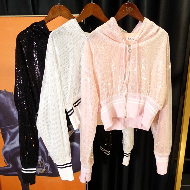 Slim! 2018 trạm Châu Âu blingbling nữ thần mới sequins sáng bóng kem chống nắng dây kéo trùm đầu áo ngắn