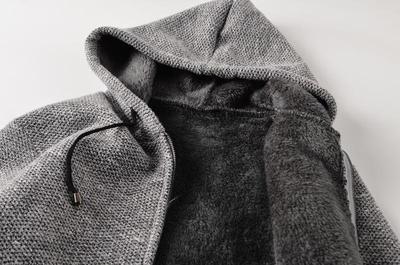 Quần áo dày mùa đông dày áo khoác trùm đầu xu hướng nam mũ len dệt kim áo len ấm áp quần áo quần áo - Cardigan