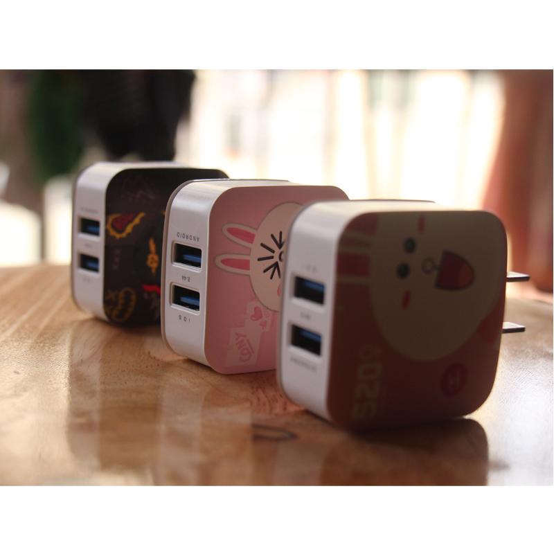 可爱卡通苹果安卓通用充电头快充2.4a快速充电器多口usb双口插头